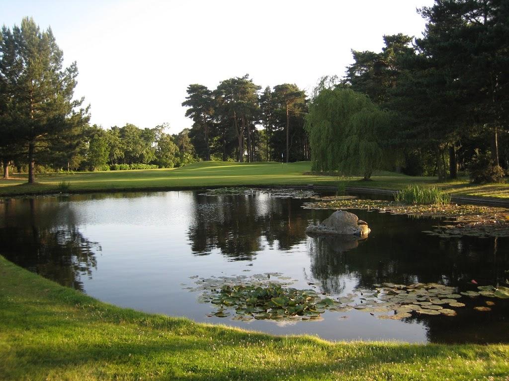 Das sehr hübsche Grün der 16 von Camberley Heath